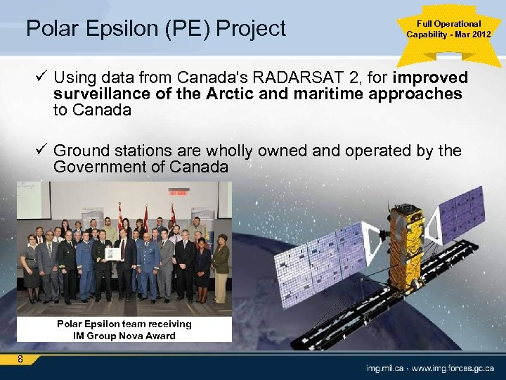 Polar Epsilon (PE) Project Full Operational Capability - Mar 2012 ü Using data from