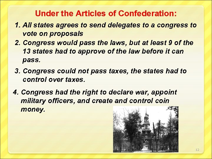 Under the Articles of Confederation: 1. All states agrees to send delegates to a