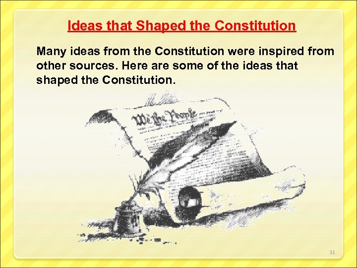 Ideas that Shaped the Constitution Many ideas from the Constitution were inspired from other