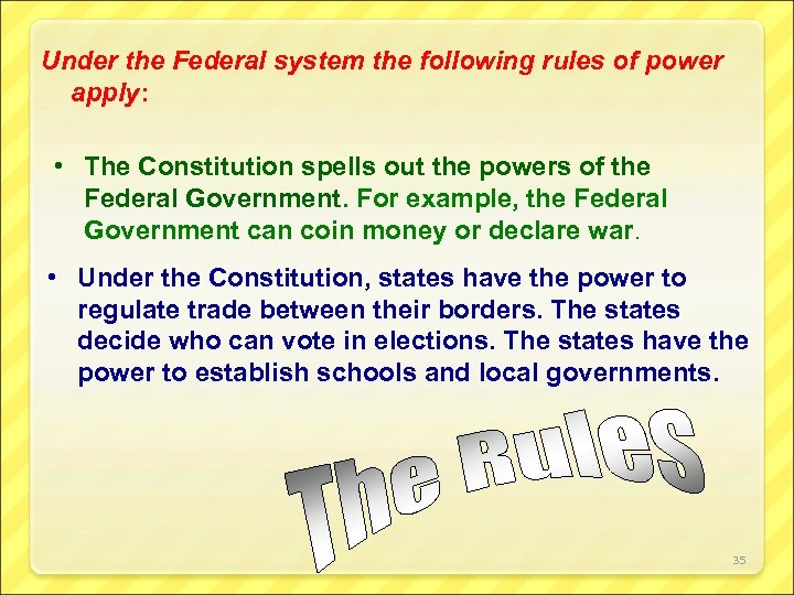 Under the Federal system the following rules of power apply: • The Constitution spells