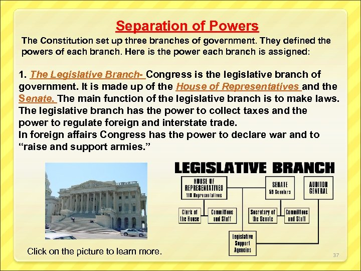 Separation of Powers The Constitution set up three branches of government. They defined the