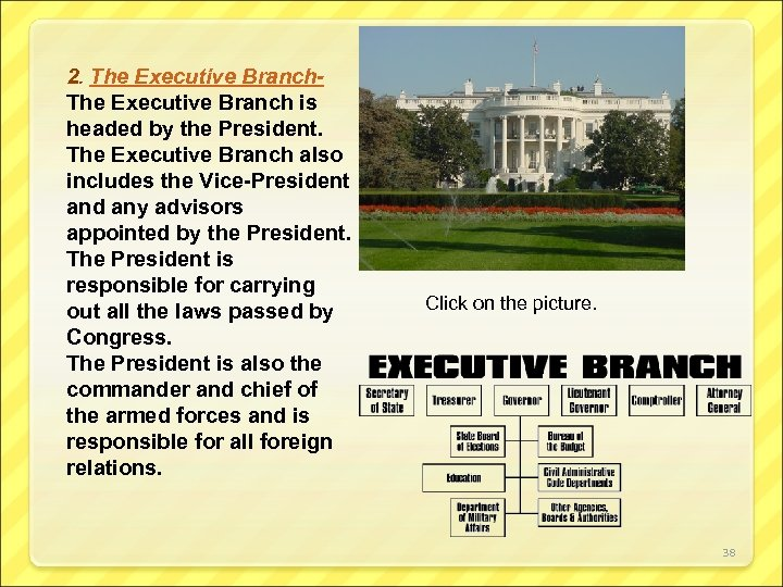 2. The Executive Branch is headed by the President. The Executive Branch also includes