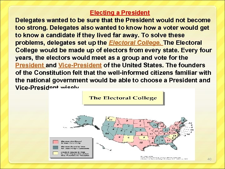Electing a President Delegates wanted to be sure that the President would not become