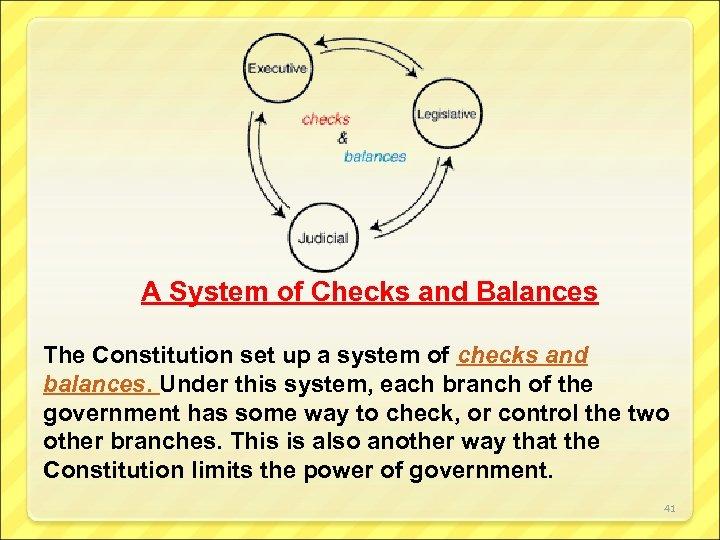 A System of Checks and Balances The Constitution set up a system of checks
