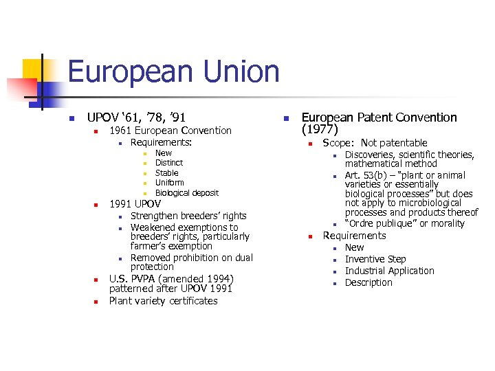 European Union n UPOV ' 61, ' 78, ' 91 n 1961 European Convention