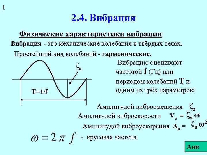 1 2. 4. Вибрация Физические характеристики вибрации Вибрация - это механические колебания в твёрдых