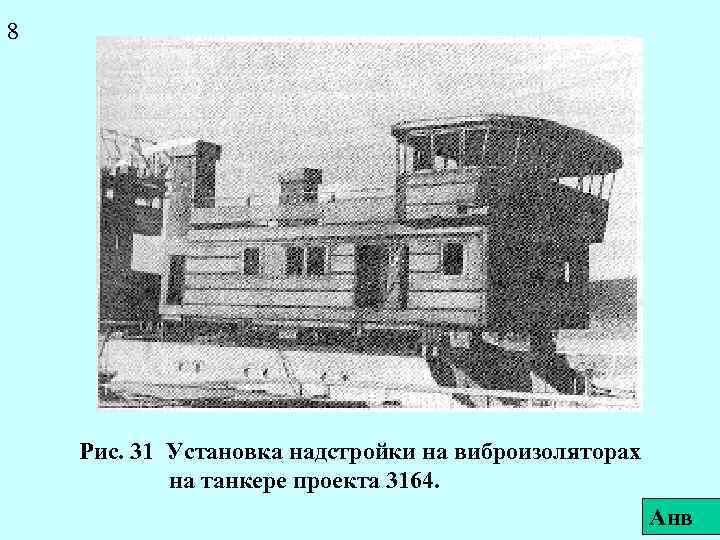 8 Рис. 31 Установка надстройки на виброизоляторах на танкере проекта 3164. Анв