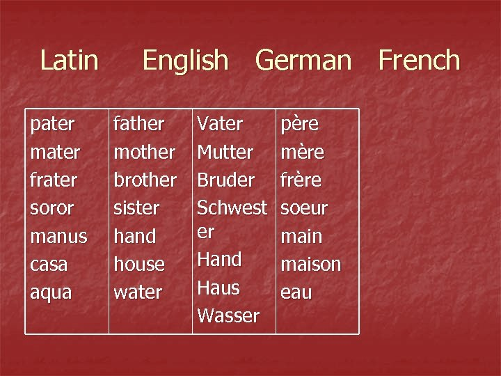 Latin pater mater frater soror manus casa aqua English German French father mother brother