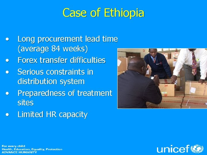 Case of Ethiopia • Long procurement lead time (average 84 weeks) • Forex transfer