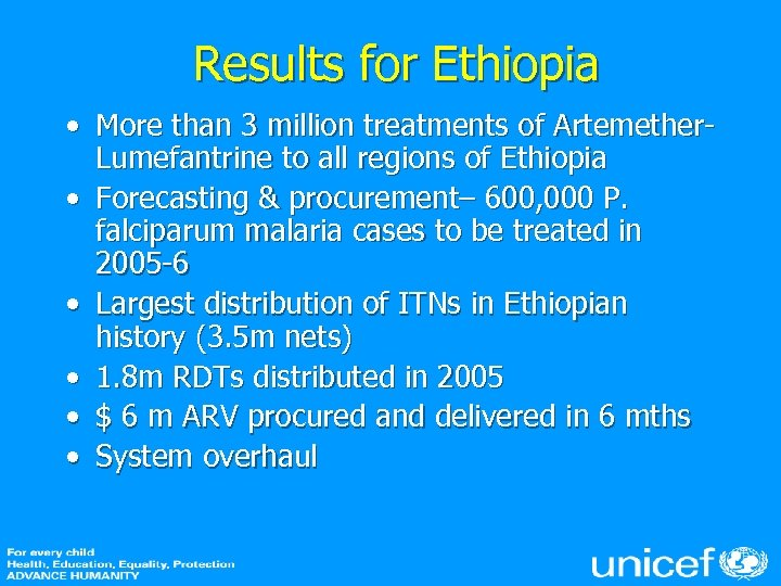 Results for Ethiopia • More than 3 million treatments of Artemether. Lumefantrine to all