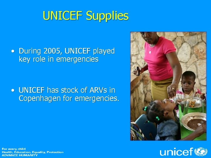 UNICEF Supplies • During 2005, UNICEF played key role in emergencies • UNICEF has
