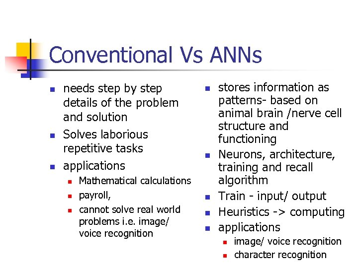 Conventional Vs ANNs n needs step by step details of the problem and solution