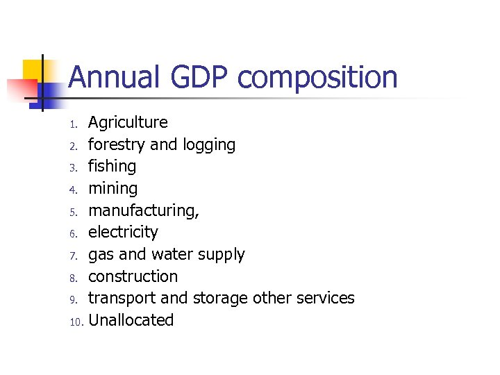 Annual GDP composition Agriculture 2. forestry and logging 3. fishing 4. mining 5. manufacturing,