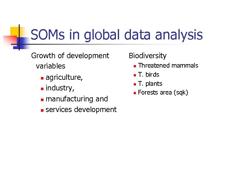 SOMs in global data analysis Growth of development variables n agriculture, n industry, n