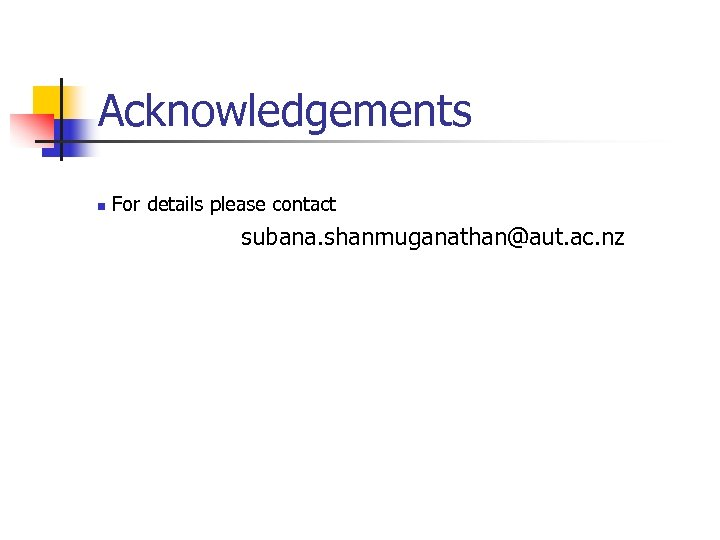 Acknowledgements n For details please contact subana. shanmuganathan@aut. ac. nz