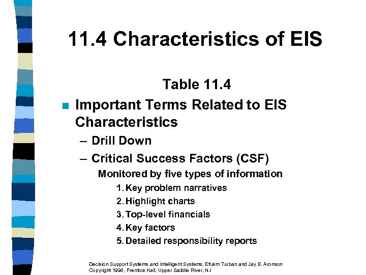 11. 4 Characteristics of EIS n Table 11. 4 Important Terms Related to EIS