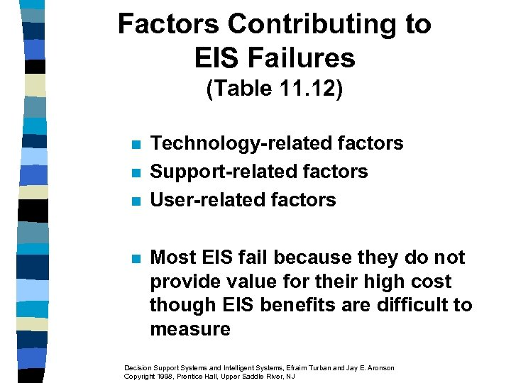 Factors Contributing to EIS Failures (Table 11. 12) n n Technology-related factors Support-related factors