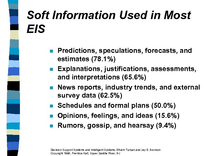 Soft Information Used in Most EIS n n n Predictions, speculations, forecasts, and estimates