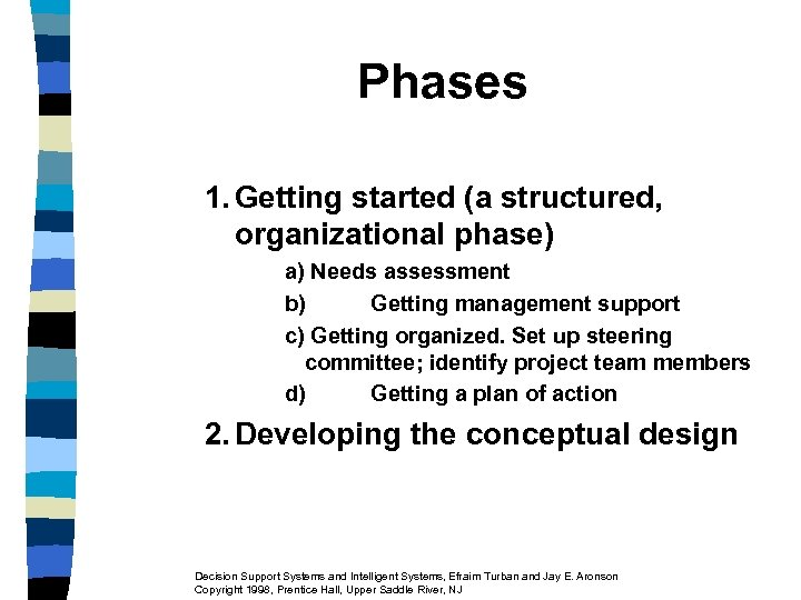 Phases 1. Getting started (a structured, organizational phase) a) Needs assessment b) Getting management