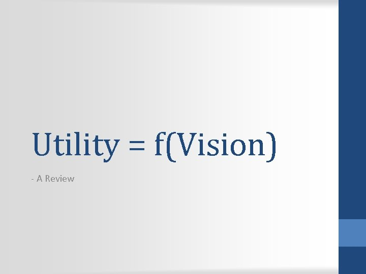 Utility = f(Vision) - A Review