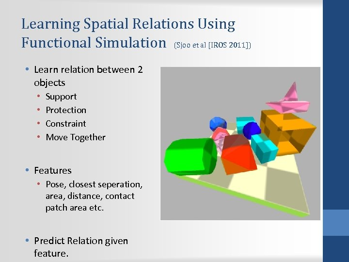 Learning Spatial Relations Using Functional Simulation (Sjoo et al [IROS 2011]) • Learn relation