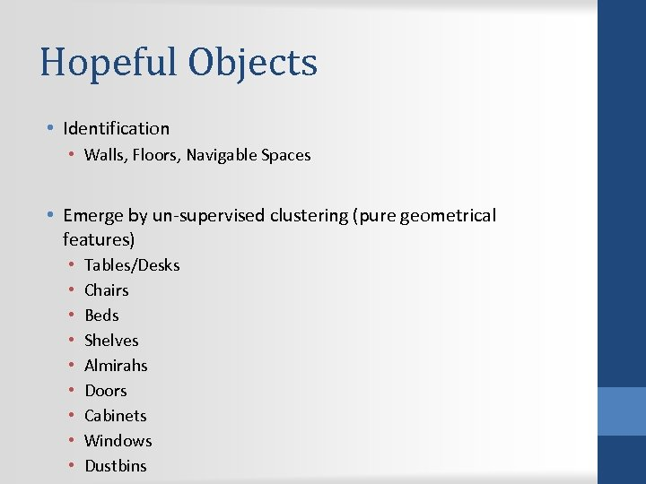 Hopeful Objects • Identification • Walls, Floors, Navigable Spaces • Emerge by un-supervised clustering