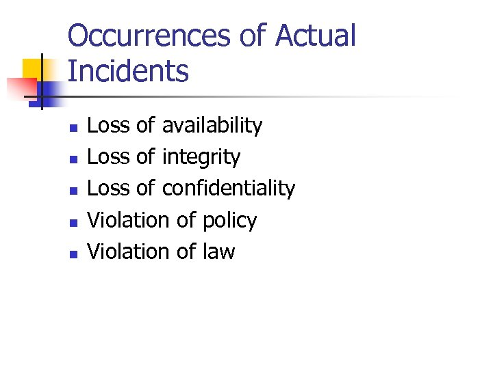 Occurrences of Actual Incidents n n n Loss of availability Loss of integrity Loss