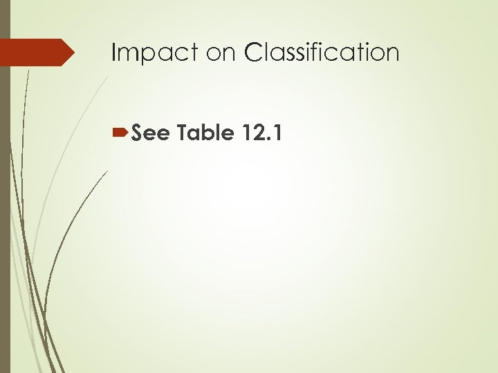Impact on Classification See Table 12. 1