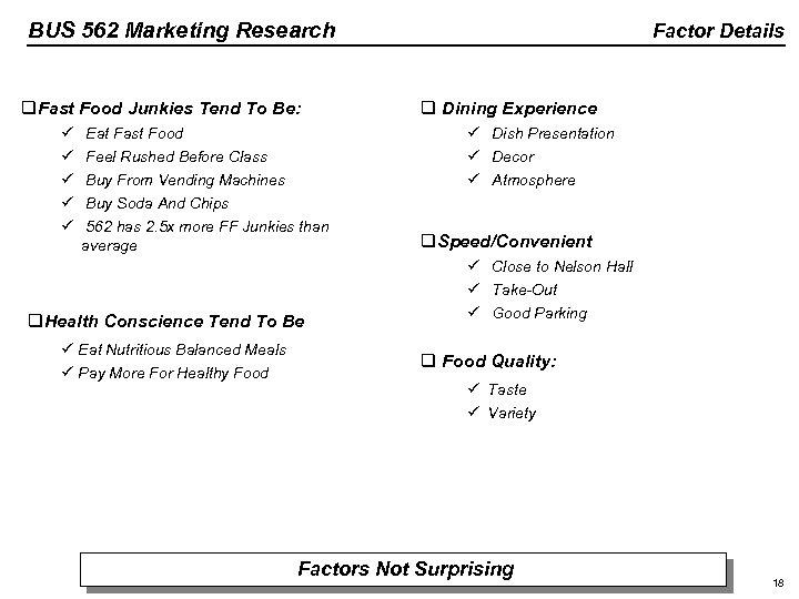 BUS 562 Marketing Research q. Fast Food Junkies Tend To Be: ü ü ü