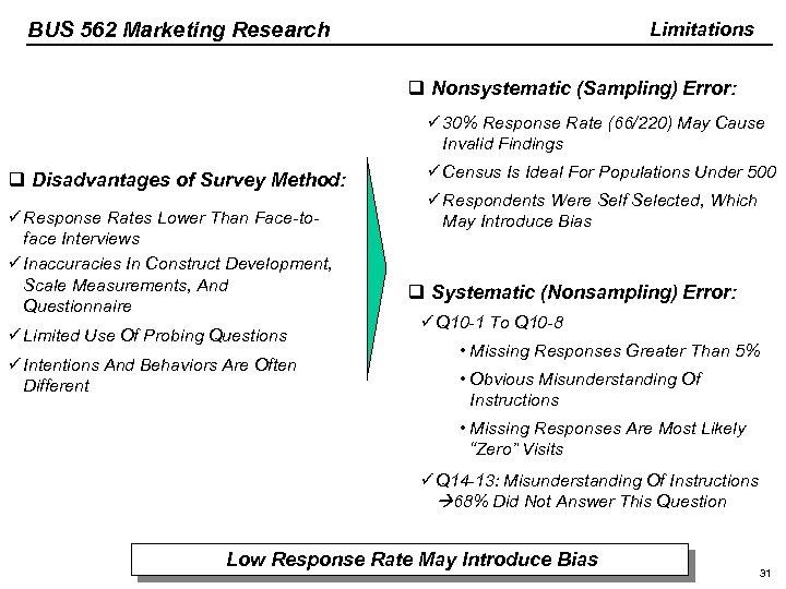 BUS 562 Marketing Research Limitations q Nonsystematic (Sampling) Error: ü 30% Response Rate (66/220)
