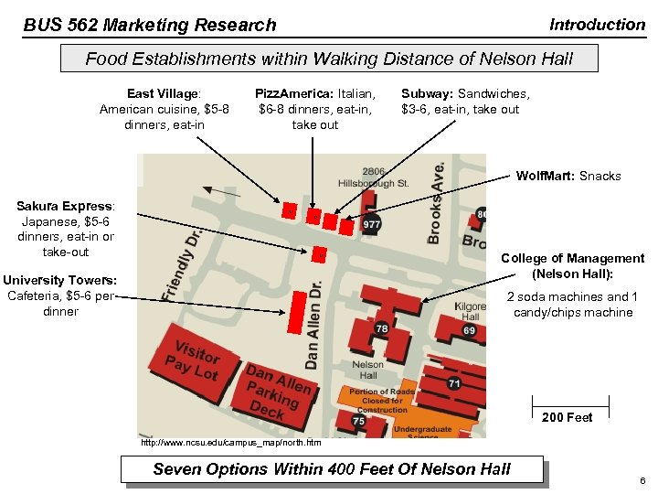BUS 562 Marketing Research Introduction Food Establishments within Walking Distance of Nelson Hall East