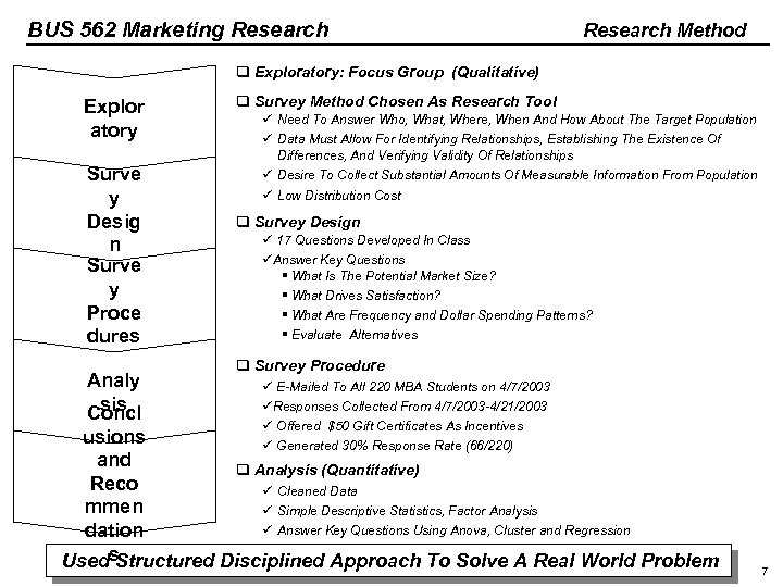 BUS 562 Marketing Research Method q Exploratory: Focus Group (Qualitative) Explor atory Surve y