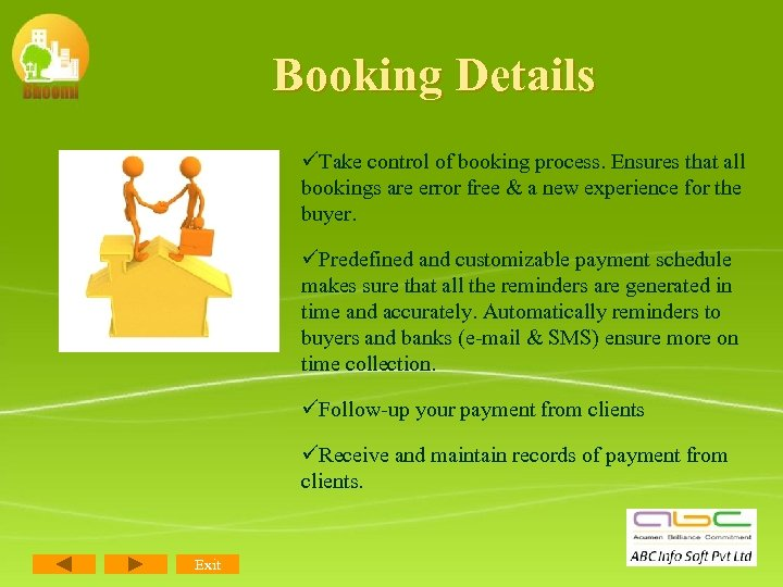 Booking Details üTake control of booking process. Ensures that all bookings are error free