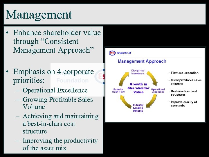 "Management • Enhance shareholder value through ""Consistent Management Approach"" • Emphasis on 4 corporate"