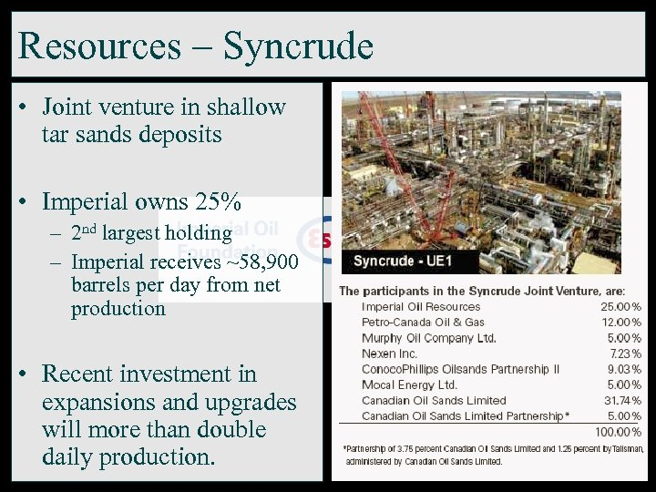 Resources – Syncrude • Joint venture in shallow tar sands deposits • Imperial owns