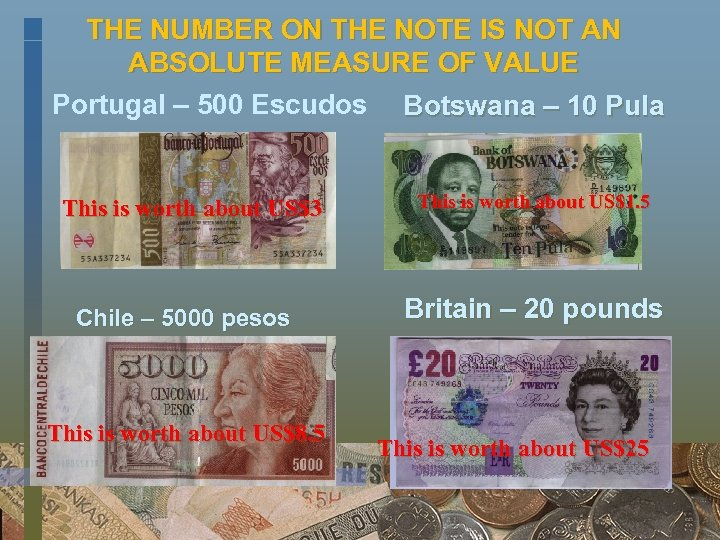 THE NUMBER ON THE NOTE IS NOT AN ABSOLUTE MEASURE OF VALUE Portugal –