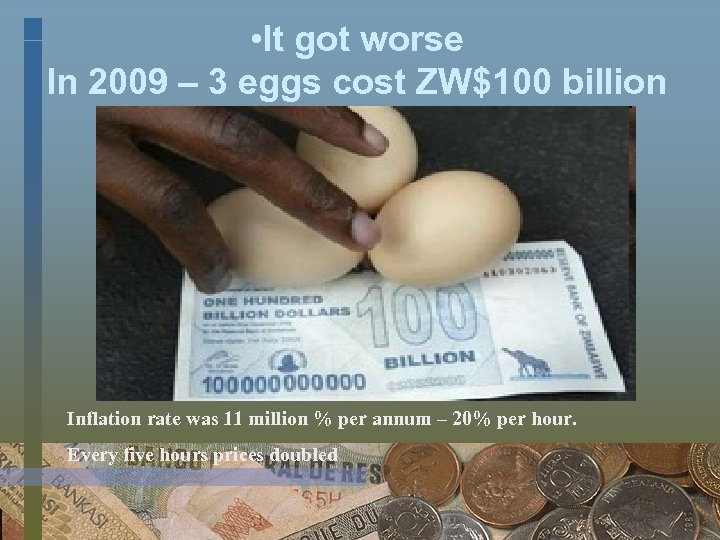 • It got worse In 2009 – 3 eggs cost ZW$100 billion Inflation