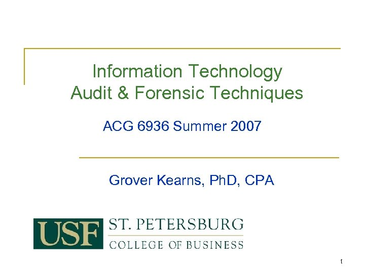 Information Technology Audit & Forensic Techniques ACG 6936 Summer 2007 Grover Kearns, Ph. D,