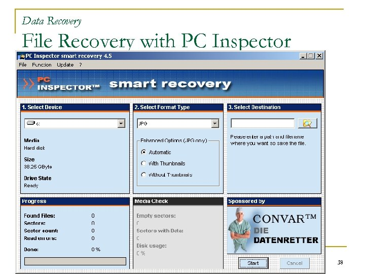 Data Recovery File Recovery with PC Inspector 38