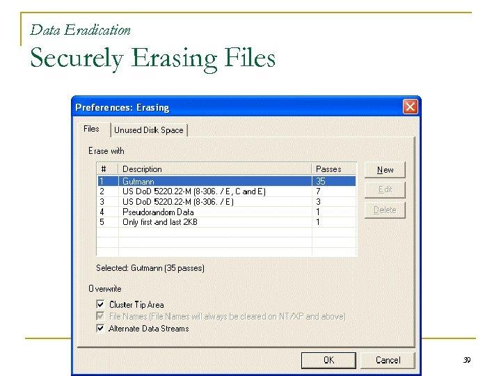 Data Eradication Securely Erasing Files 39