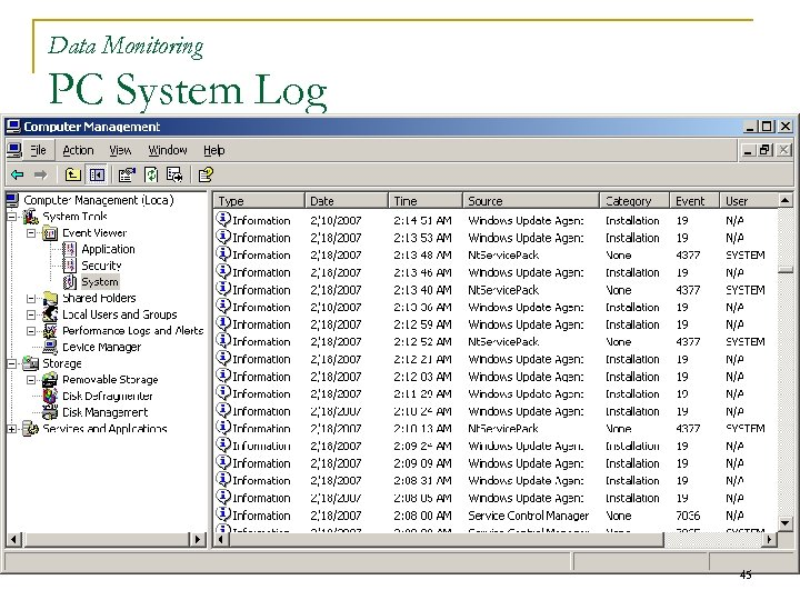 Data Monitoring PC System Log 45