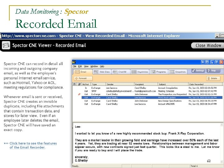 Data Monitoring : Spector Recorded Email 62