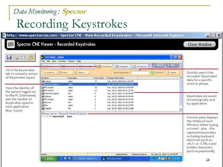 Data Monitoring : Spector Recording Keystrokes 64