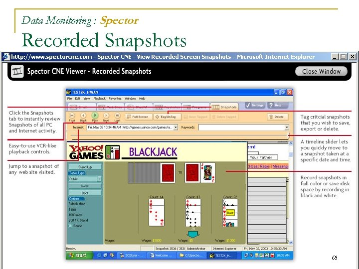 Data Monitoring : Spector Recorded Snapshots 65