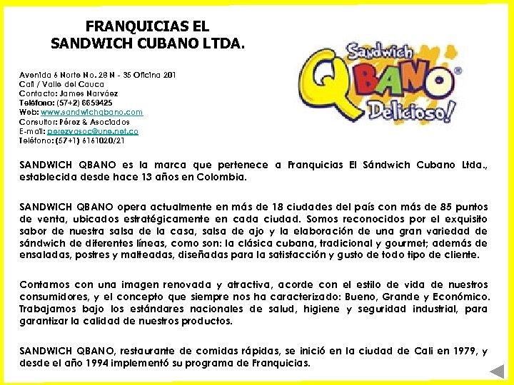 FRANQUICIAS EL SANDWICH CUBANO LTDA. Avenida 6 Norte No. 28 N - 35 Oficina
