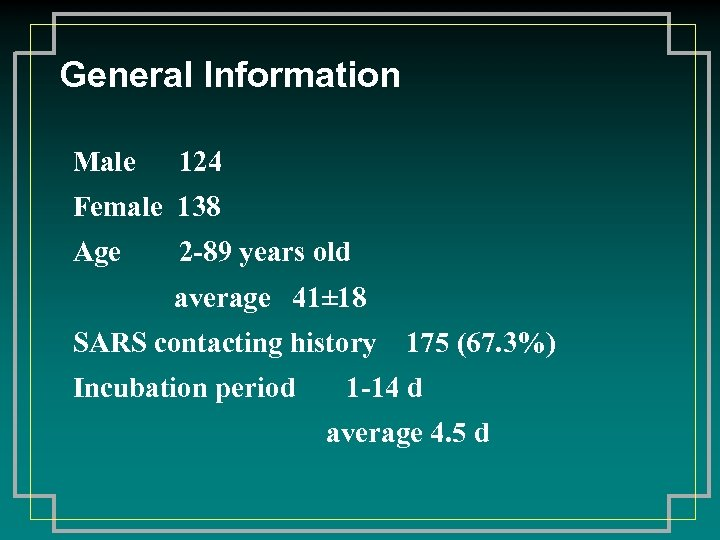 General Information Male 124 Female 138 Age 2 -89 years old average 41± 18