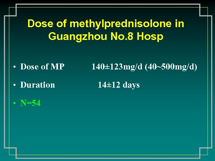 Dose of methylprednisolone in Guangzhou No. 8 Hosp • Dose of MP • Duration