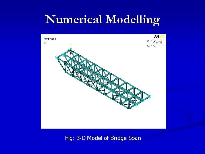 Numerical Modelling Fig: 3 -D Model of Bridge Span