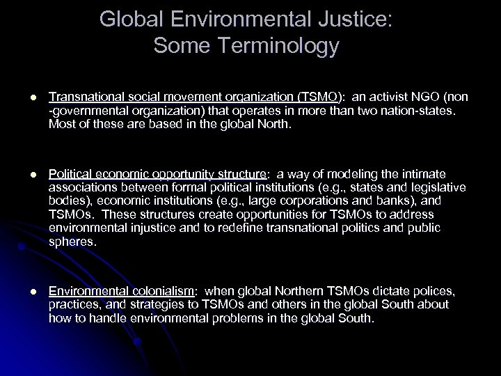 Global Environmental Justice: Some Terminology l Transnational social movement organization (TSMO): an activist NGO