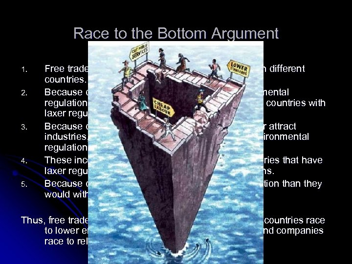 Race to the Bottom Argument 1. 2. 3. 4. 5. Free trade makes it